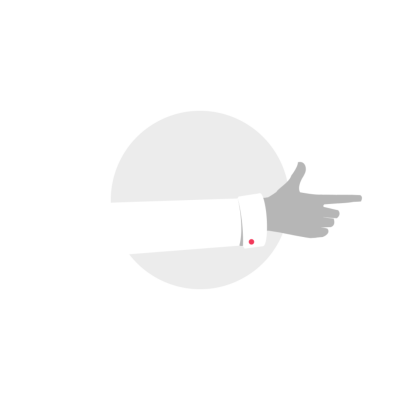 White shirt hand pointing right icon clipart illustration