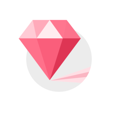 Pink Gem Stone Diamond Clipart Illustration on round icon with transparent background