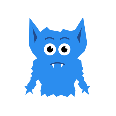 Cartoon Blue Monster Shrugging Arms Clipart illustration