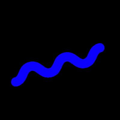 Zig zag sine wave snake shape on transparent background