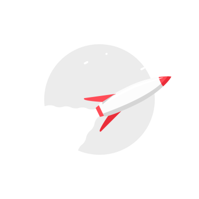 Flying whte and red rocket round icon