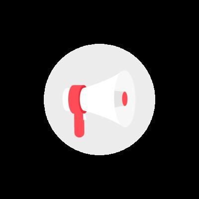 White megaphone round icon