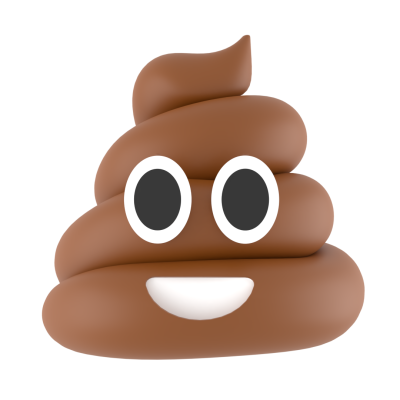Pile of poo 3d emoji with transparent background
