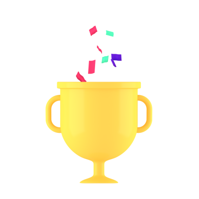 3D Trophy gold cup with confetti