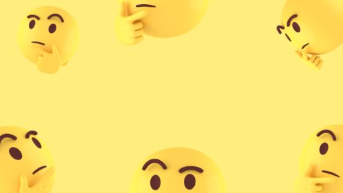 Thinking face 3d emoji with yellow background