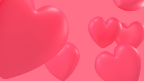 Floating 3d hearts background