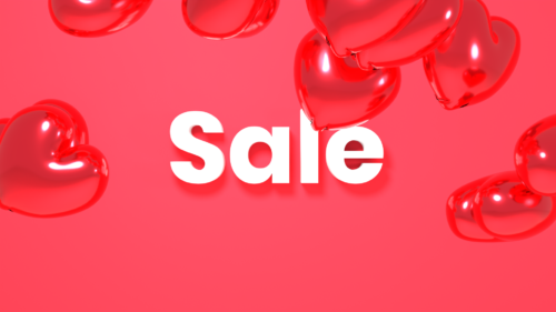 Sale title with 3d ballon hearts on red background