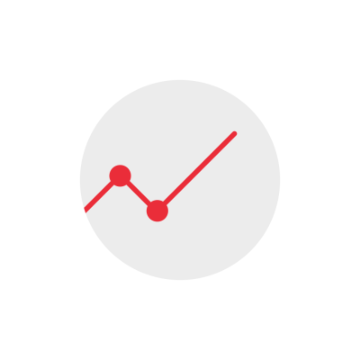 Increasing line chart round icon