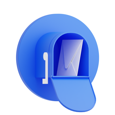 Blue mailbox with letter 3d icon