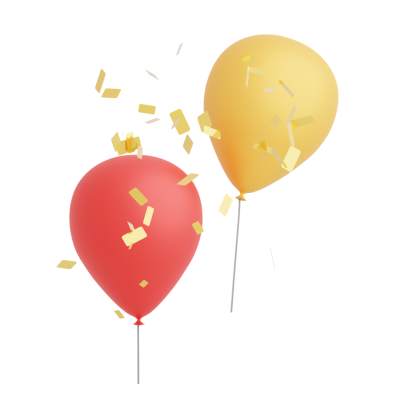 Balloons with confetti transparent background
