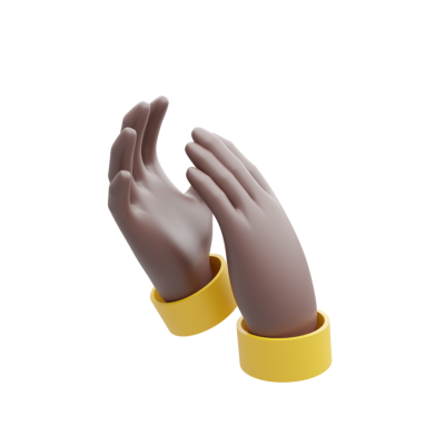 clapping 3d hands dark skin tone png