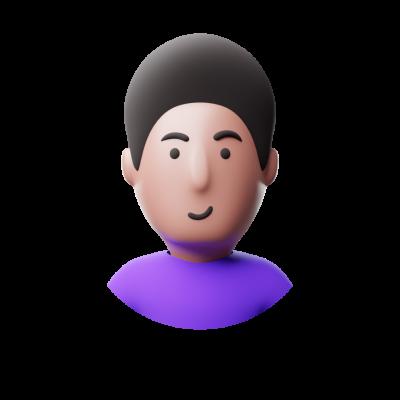 3d violet avatar smiling png