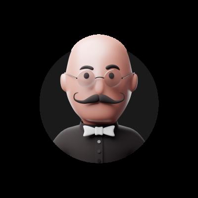 3D man with moustache avatar