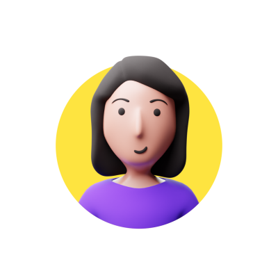 Woman 3d avatar on yellow background