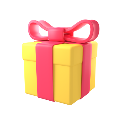 Yellow Wrapped Gift 3D with red ribbon