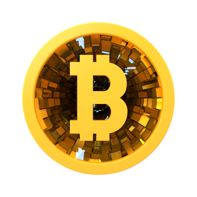 3D Gold Bitcoin Coin Front View