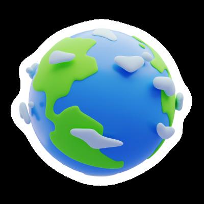 3d Earth Emoji Sticker